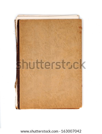 Old notebook with brown cover - stock photo