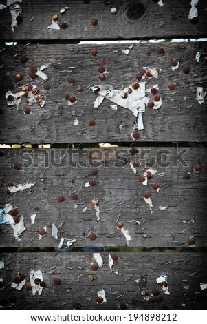 Old notice or bulletin board. Background or texture of grunge dark wooden planks - stock photo