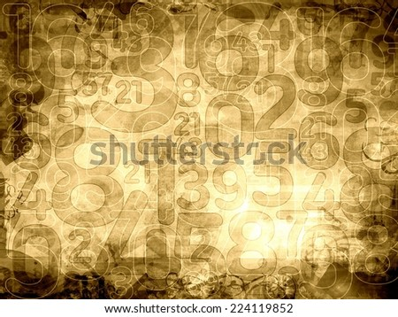 old numbers sepia texture or background illustration - stock photo