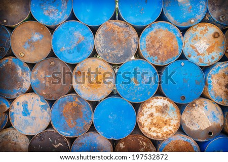 Old oil barrels - stock photo
