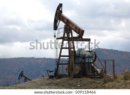 old oil pump in the Carpathian Mountains