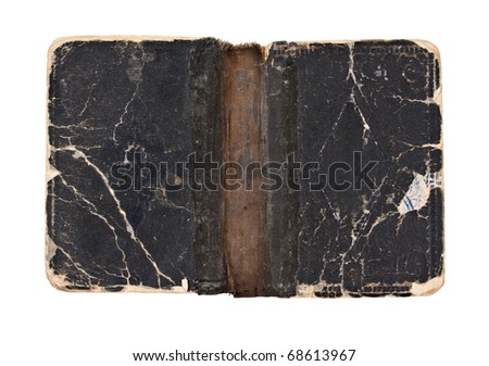 Old open book - cover - circa 1900 - isolated on white - stock photo