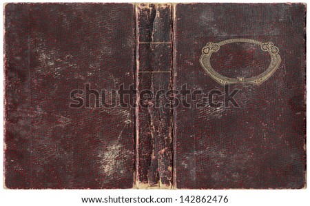 Old open book cover - circa 1918 - isolated on white - perfect in detail! - XL size - stock photo