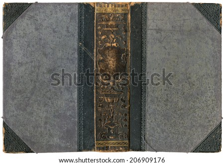 Old open book - cover with embossed leather spine - circa 1896 - isolated on white - perfect in detail! - XL size - stock photo