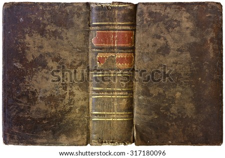 Old open book - leather cover - circa 1750 - isolated on white - stock photo
