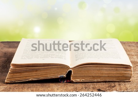 Old open book lying on the table in the garden - stock photo
