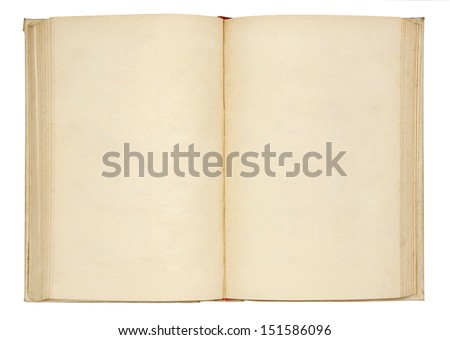 Old open book on white background - stock photo
