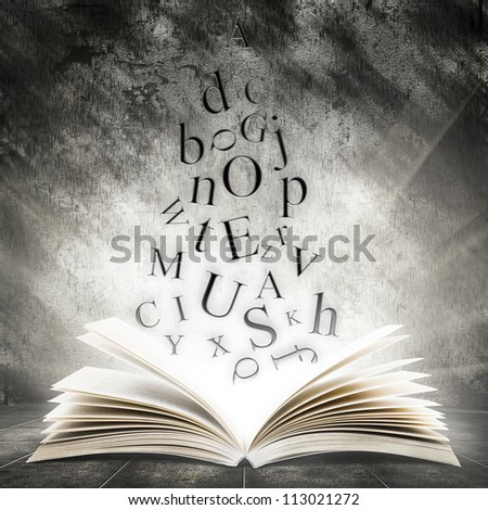 Old open book with magic light and falling letters on a dark abstract background - stock photo