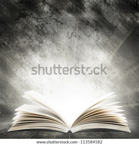 Old open book with magic light on a dark abstract background - stock photo