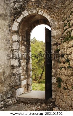 Old open door frame - stock photo