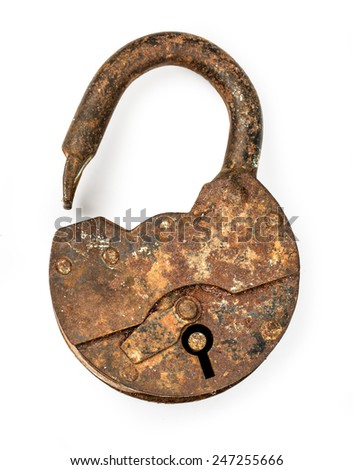 Old open padlock and key. Isolated with clipping path - stock photo