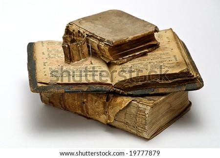 old open religious books family relict - stock photo
