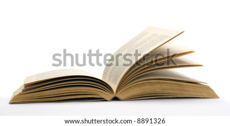 Old opened book - stock photo