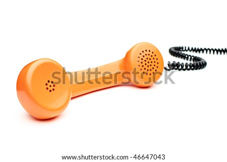 Old orange telephone tube isolated on white background - stock photo