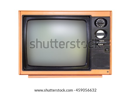 Old orange television isolated on white background