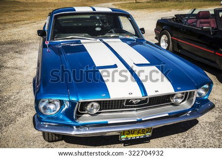 OLD ORCHARD BEACH, SEPTEMBER 26: Ford Mustang presented at the Motor Show on September 26, 2015 in Old Orchard Beach, Maine, USA