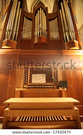 Old organ in perspective - stock photo