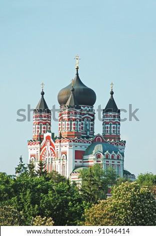 Old orthodox cathedral in Feofaniya, Kiev, Ukraine - stock photo