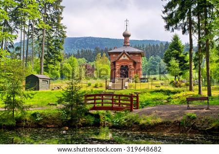 Old orthodox church in Sokolowsko - Poland - stock photo