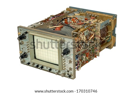 Old oscilloscope in parts, isolated on a white background. - stock photo