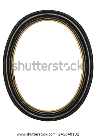 old oval picture frame wooden isolated white background - stock photo