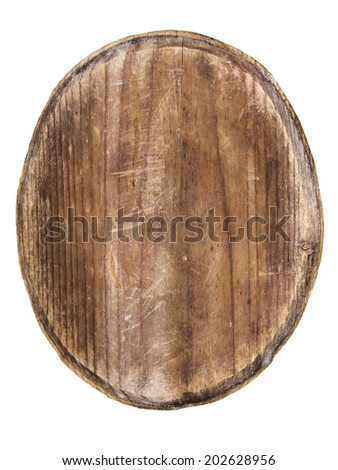 old oval wooden tablet isolated on white background - stock photo