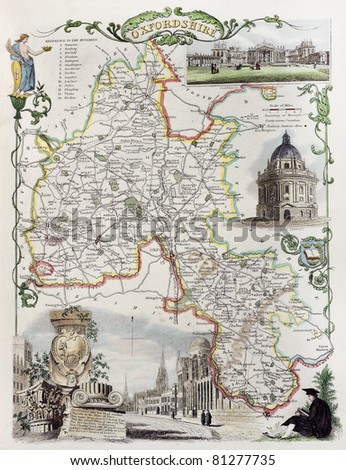Old Oxfordshire map. Created by Thomas Moule, published in English Counties Delineated, London 1837 - stock photo