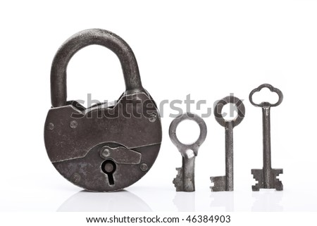 Old padlock and keys - stock photo