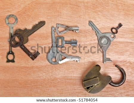 Old padlock and word â??keyâ? - stock photo
