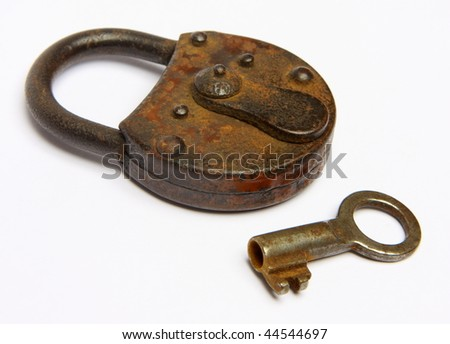 old padlock isolated - stock photo