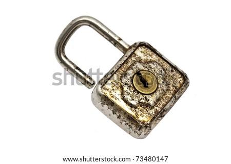 Old padlock isolated on white background - stock photo