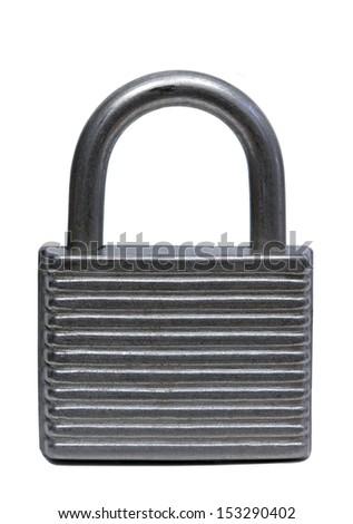 old padlock over white - stock photo