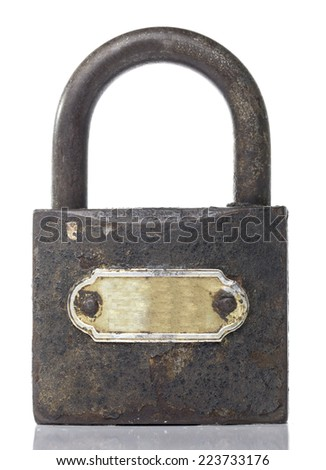 Old padlock White background