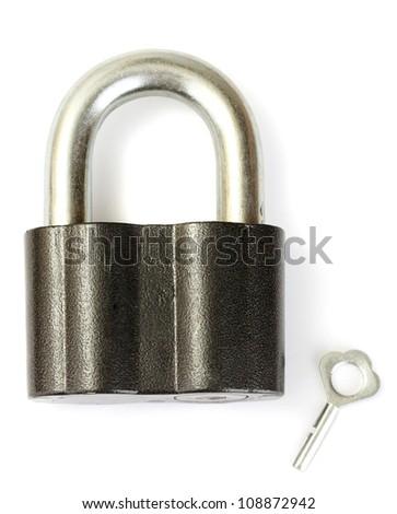 old padlock with key isolated on white background - stock photo