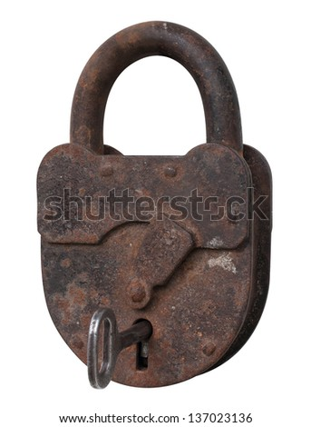 Old padlock with key on a white with clipping path - stock photo