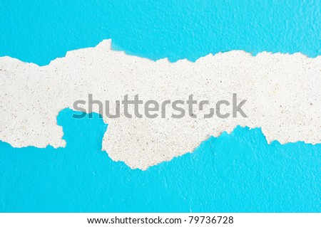 old paint and wall, cracked wall color blue - stock photo