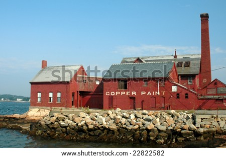 Old paint factory on Rocky Neck, Gloucester, MA, on a summer day
