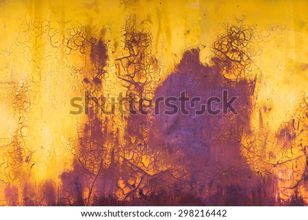 old paint horizontal background yellow and purple colors with crack and scratch - stock photo