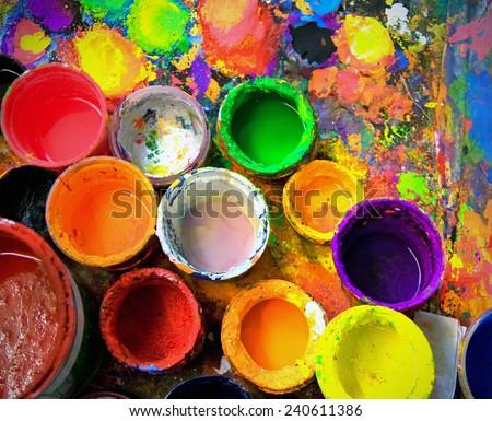 old paint pots  - stock photo