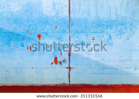 Old Painted Metal Wall, Red Blue - stock photo