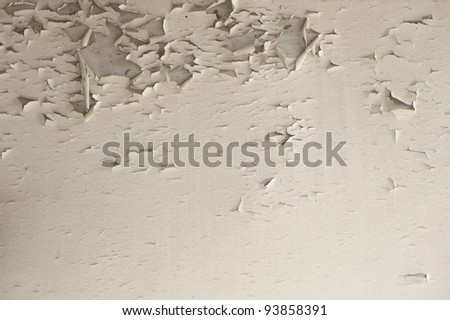 old painted wood wall texture, grunge background, cracked paint - stock photo