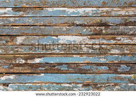 Old painted wooden planks - stock photo