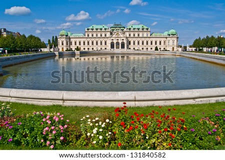 old palace and garden Belvedere in Vienna - stock photo