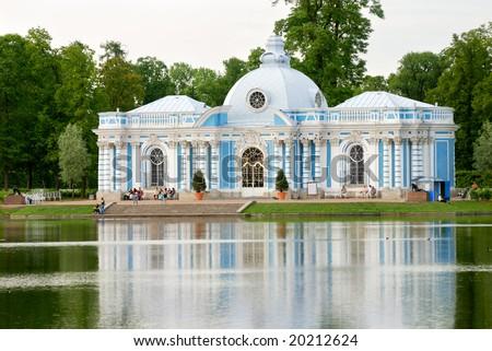 Old palace (grotto) near Saint-Petersburg - stock photo