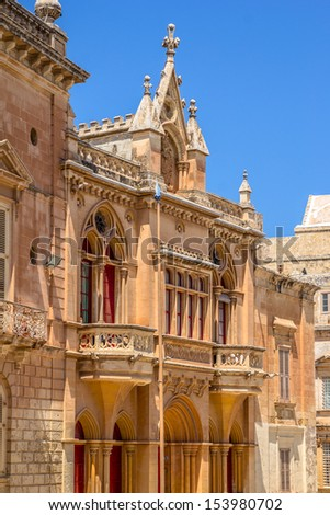 Old palace in St Paul square in Mdina, Malta. - stock photo