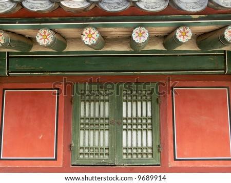 Old palace window, Seoul, South Korea - stock photo