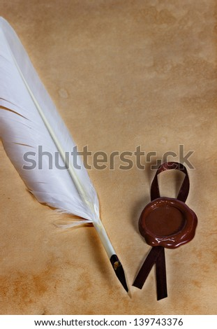old paper, ancient parchment  with wax seal and quill pen - stock photo