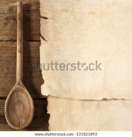 old paper and spoon - stock photo