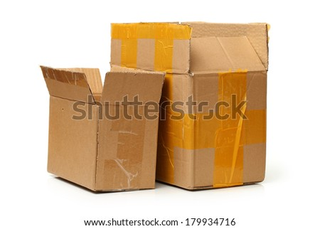 old paper box on white background  - stock photo