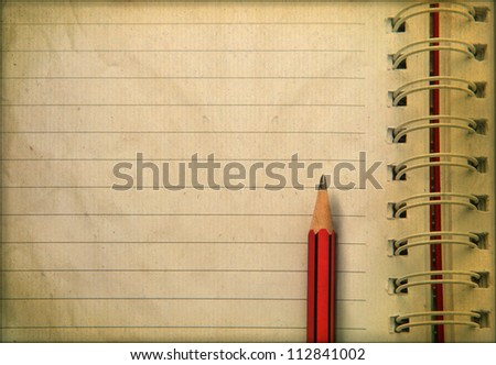 old paper brown color and pencil ready for writing - stock photo